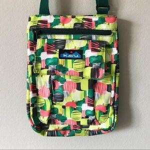 Kavu Keeper Crossbody Bag Geometric Print Green
